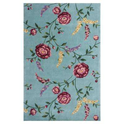 Climbing Rose Blue/Red 5 ft. 3 in. x 8 ft. Area Rug
