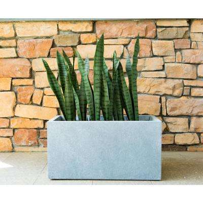 Large 31 in. L Slate Gray Lightweight Concrete Modern Long Low Outdoor Planter