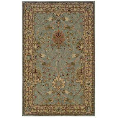 Soumak Collection Ice Blue and Pale Gold 5 ft. x 8 ft. Indoor Area Rug