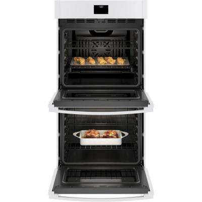 27 in. Smart Double Electric Wall Oven with Convection (Upper Oven) Self-Cleaning in White