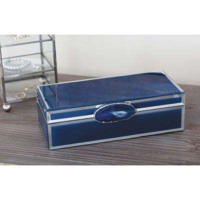3 in. x 11 in. Modern Elegance Wood and Glass Agate Jewelry Box in Blue