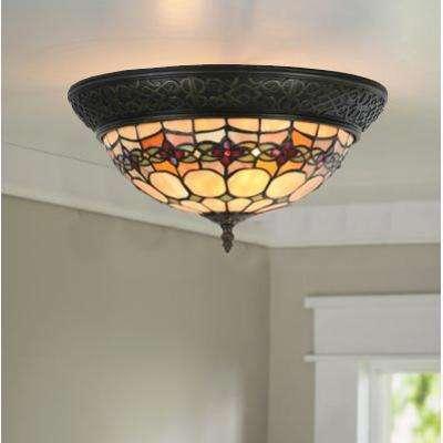 2-Light Amber Stained Glass Flush Mount Light