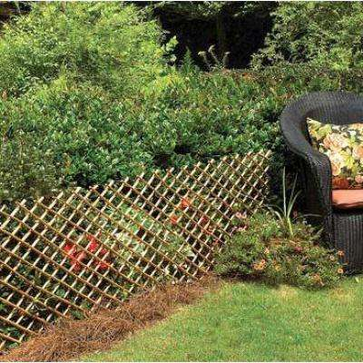 72 in. W x 24 in. H Carbonized Barkless Willow Expandable Trellis Fence Light Mahogany Color