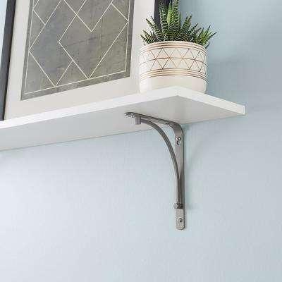 6 in. x 8 in. Satin Nickel Classic Arch Decorative Shelf Bracket