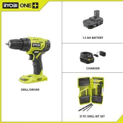 18-Volt Cordless ONE+ 1/2 in. Drill/Driver Kit w/(1) 1.5 Ah Battery and Charger and Black Oxide Drill Bit Set (21-Piece)
