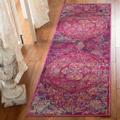 Crystal Fuchsia/Purple 2 ft. x 9 ft. Runner Rug
