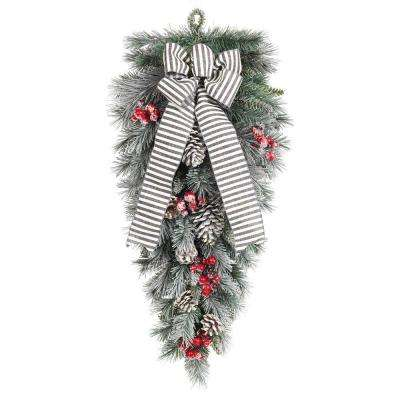 32 in. Snowy Pine Teardrop with Pinecones Berries and Striped Bow