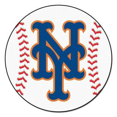 MLB New York Mets White 2 ft. 3 in. x 2 ft. 3 in. Round Accent Rug