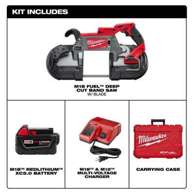 M18 FUEL 18-Volt Lithium-Ion Brushless Cordless Deep Cut Band Saw with One 5.0 Ah Battery, Charger, Hard Case