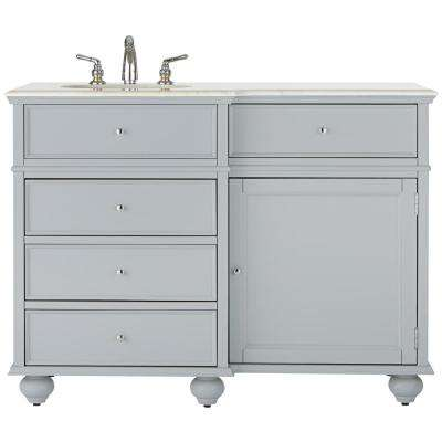 Hampton Harbor 48 in. Vanity in Dove Grey with Natural Marble Vanity Top in White with White Basin