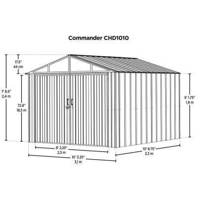 Commander 10 ft. W x 10 ft. D White Hot-Dipped Galvanized Metal Storage Shed