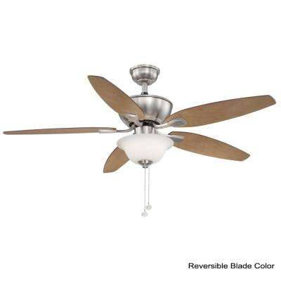 Carrolton II 52 in. Integrated LED Indoor Brushed Nickel Ceiling Fan with Light Kit