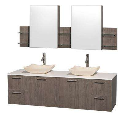 Amare 72 in. Double Vanity in Grey Oak with Man-Made Stone Vanity Top in White and Ivory Marble Sinks