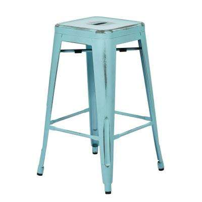 Bristow 26 in. Metal Barstool in Antique Sky Blue (Set of 2)