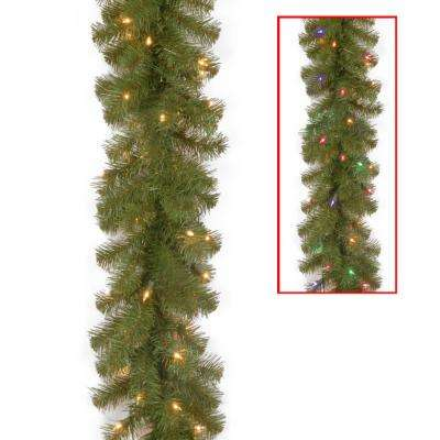 9 ft. North Valley Spruce Garland with Battery Operated Dual Color LED Lights