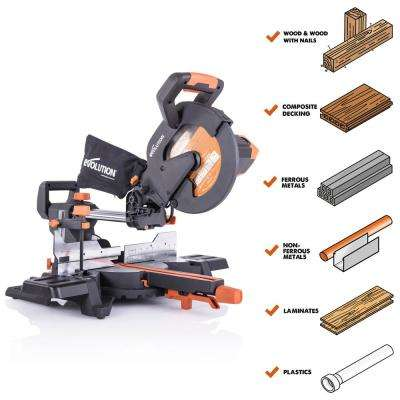 15 Amp 10 in. Sliding Compound Miter Saw with Laser Guide, Dust Bag, 10 ft. Rubber Power Cord, Multi-Material 28-T Blade
