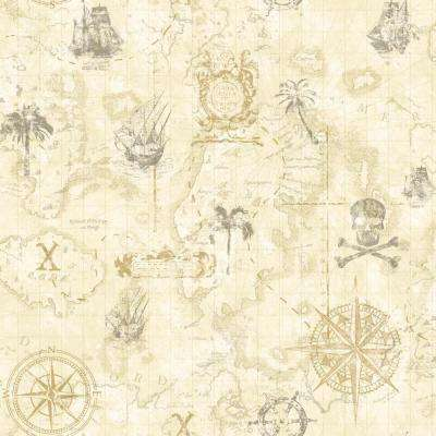 56 sq. ft. Cool Kids Pirate Map Wallpaper