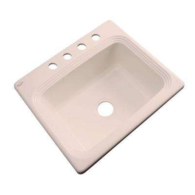 Rochester Drop-In Acrylic 25 in. 4-Hole Single Bowl Kitchen Sink in Peach Bisque