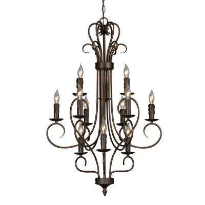 Maddox Collection 12-Light Rubbed Bronze 3-Tier Chandelier