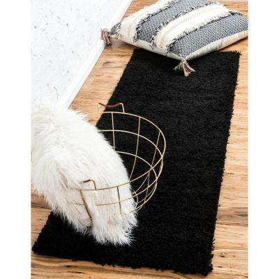 Solid Shag Jet Black 2' 6 x 19' 8 Runner Rug