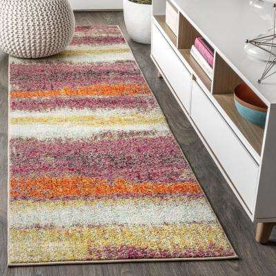 Contemporary POP Modern Abstract Vintage Cream/Pink 2 ft. 3 in. x 8 ft. Runner Rug