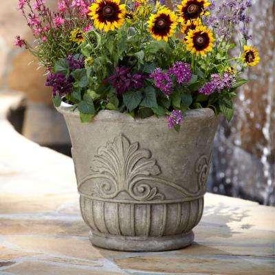 19 in. D Special Aged Granite Cast Stone Italian Leaf Pot