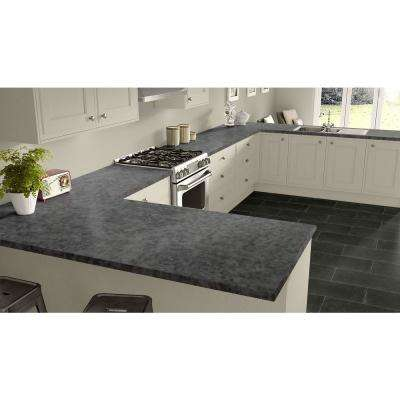 2 in. x 3 in. Laminate Countertop Sample in Pewter Brush with Standard Matte Finish