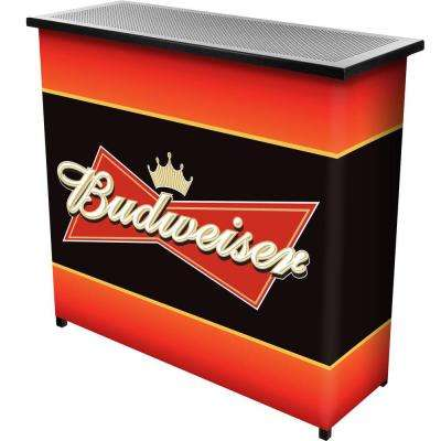 2-Shelf 39 in. L x 36 in. H Budweiser Portable Bar Table with Carrying Case