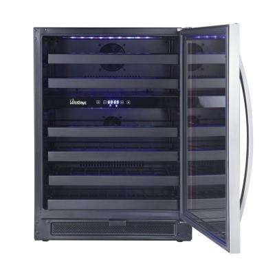 46-Bottle Dual-Zone Wine Cooler in Black and Stainless
