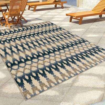 Vibrant Ikat Multi 8 ft. x 11 ft. Indoor/Outdoor Area Rug