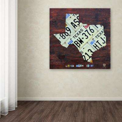 "24 in. x 24 in. ""Texas License Plate Map Large"" by Design Turnpike Printed Canvas Wall Art"
