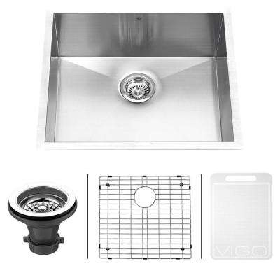 Undermount 23 in. Single Bowl Kitchen Sink with Grid and Strainer in Stainless Steel