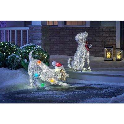 25.5 in. Christmas Warm White LED PVC Dog with Holiday Bulbs