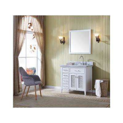 Kensington 37 in. Vanity in White with Marble Vanity Top in Carrara White with White Basin