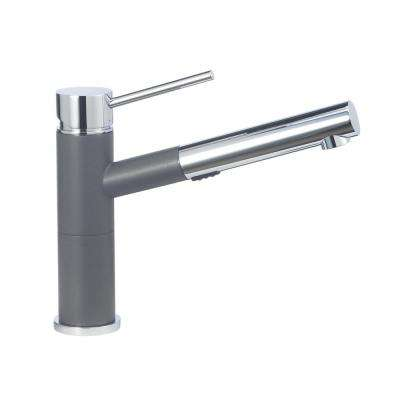 Alta Compact Single-Handle Pull-Out Sprayer Kitchen Faucet with 1.8 GPM in Cinder and Chrome Mix