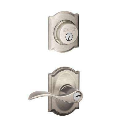 Accent Single Cylinder Satin Nickel Camelot Trim Decorative Security Set Lever