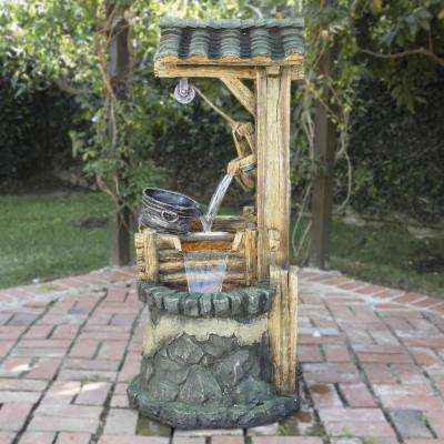 "Alpine Corporation 50"" Tall Outdoor Water Well Fountain with Tiering Bucket"
