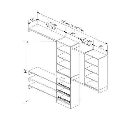 Assembled Reach-In 15 in. D x 120 in. W x 84 in. H Calabria in a Bianco White Melamine 14-Shelves Closet System