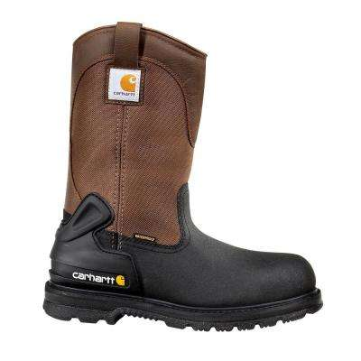 Core Men's Blk PU Coated Leather/Brown Fabric Waterproof Insulated Steel Safety Toe Work Boot