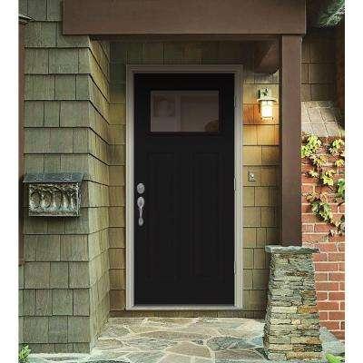 32 in. x 80 in. 1 Lite Craftsman Black Painted Steel Prehung Left-Hand Outswing Front Door w/Brickmould