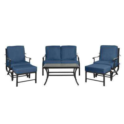 Redwood Valley Black 6-Piece Steel Outdoor Patio Deep Seating Set with CushionGuard Sky Blue Cushions