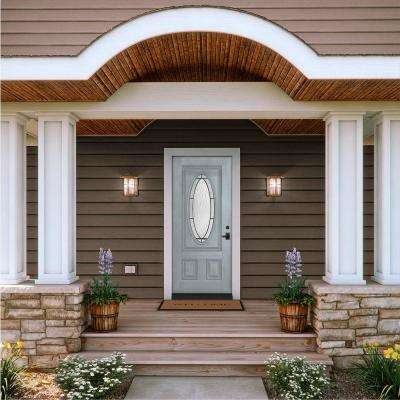 36 in. x 80 in. 3/4 Oval Lite Wendover Stone Stained Fiberglass Prehung Left-Hand Inswing Front Door