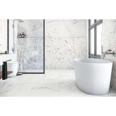 Belmar White Weave 12 in. x 12 in. x 9.5mm Porcelain Mosaic Tile