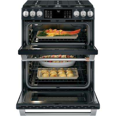 30 in. 6.7 cu. ft. Slide-In Double Oven Gas Range with Self-Cleaning Convection in Matte Black, Fingerprint Resistant