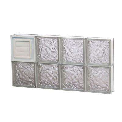 Frameless Ice Pattern Glass Block Window with Dryer Vent