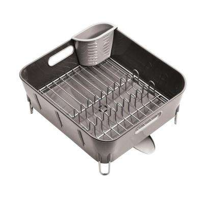 Compact Dish Rack in Grey Plastic