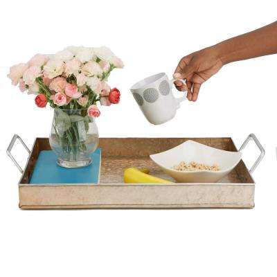 Cooper Plated Galvanized Serving Tray with Handles  Rectangular Tray, Brown