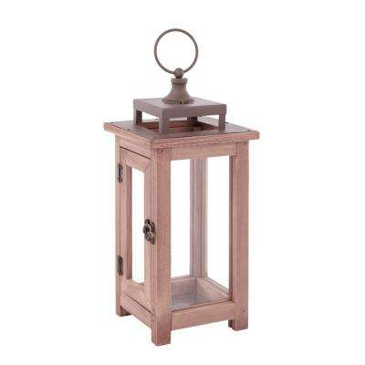 14 in. Wood Lantern Outdoor Patio with Metal Top