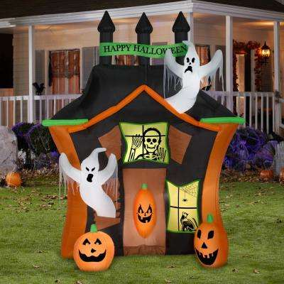 9 ft. Pre-Lit Haunted Ghost House Halloween Inflatable
