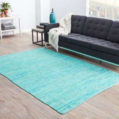 Solids/Handloom Aqua Foam 8 ft. x 10 ft. Solid Area Rug